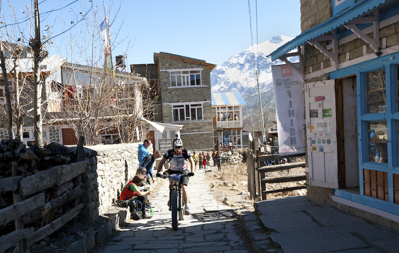 Finishing Stage 5 in the small village of Manang at 3500m altitude.