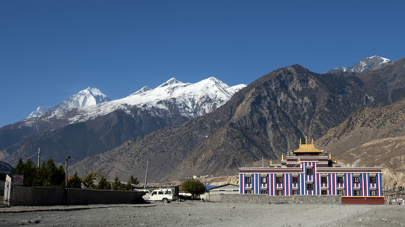 Dhaulagiri one of the tallest mountains in the world stands tall above this desert monastery.