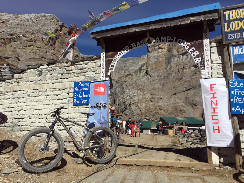 The bike at the finish line of Stage 6. Tharong Phedi at 4500m is probably the hardest finish line sprint on the planet.