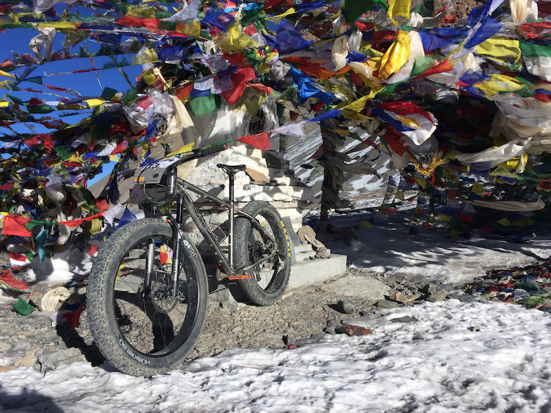 The bike atop the pass at 5416m the highest Fatbike pic on the planet Maybe..