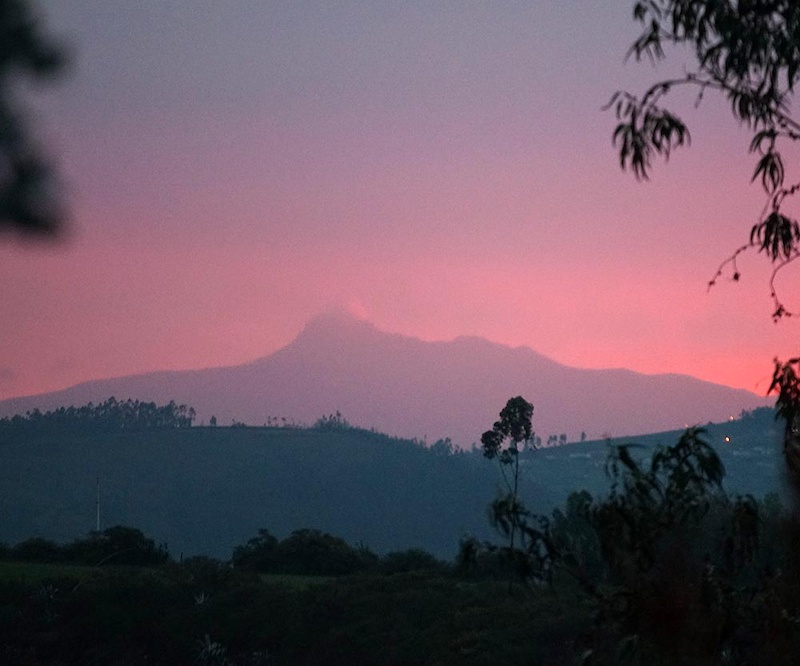 The volcano s surrounding Quito in Ecuador are even more spectacular with all the dust amp ash in the sunset lit sky following Cotopaxi s recent eruption. Quito is 2800m. This volcano is Corazon is at 4790m. Don t be too concerned about running up stairs at this elevation