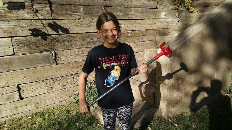 Shilo with her mace