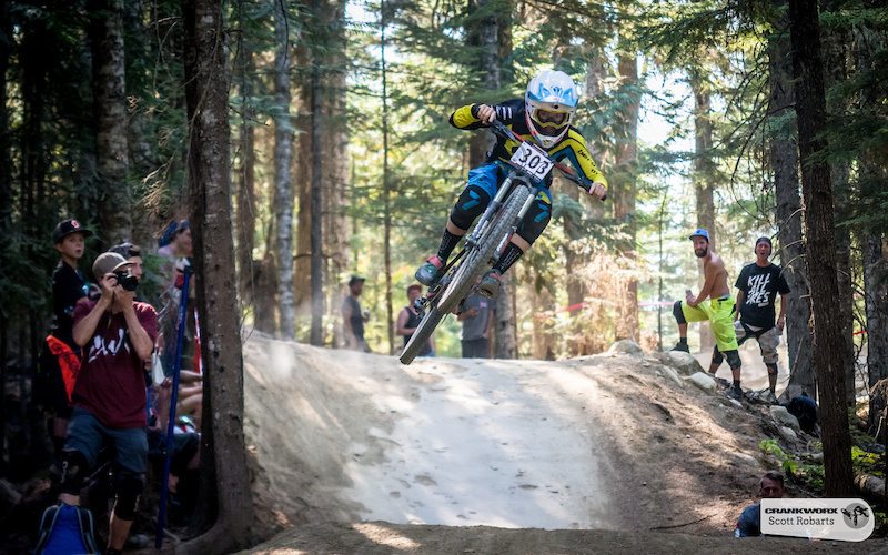 Casey Brown racing in the Fox Air DH Crankworx Whistler 2015. Photo by Scott Robarts .