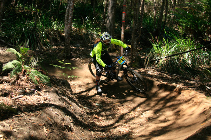 Jackie staying wide in one of the many berms of Derby, on her way to the win the in the TAS Enduro Series.