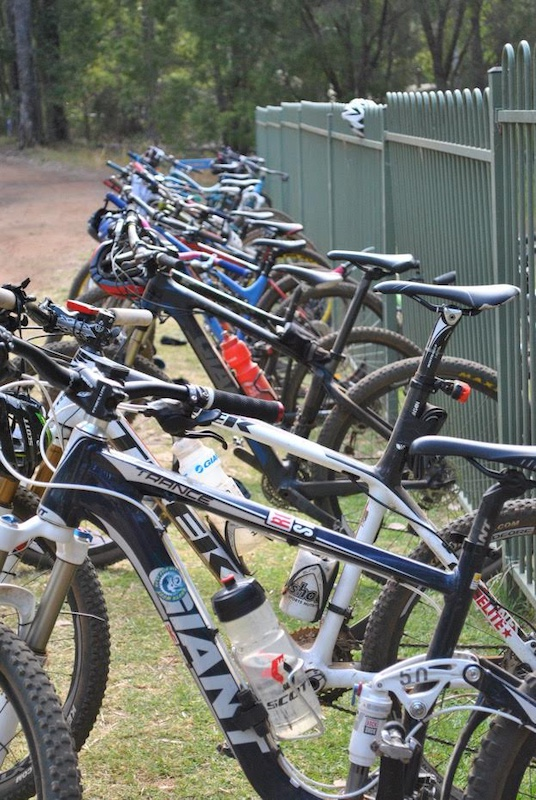 All the bikes lined up ready for the Tri-athlon!