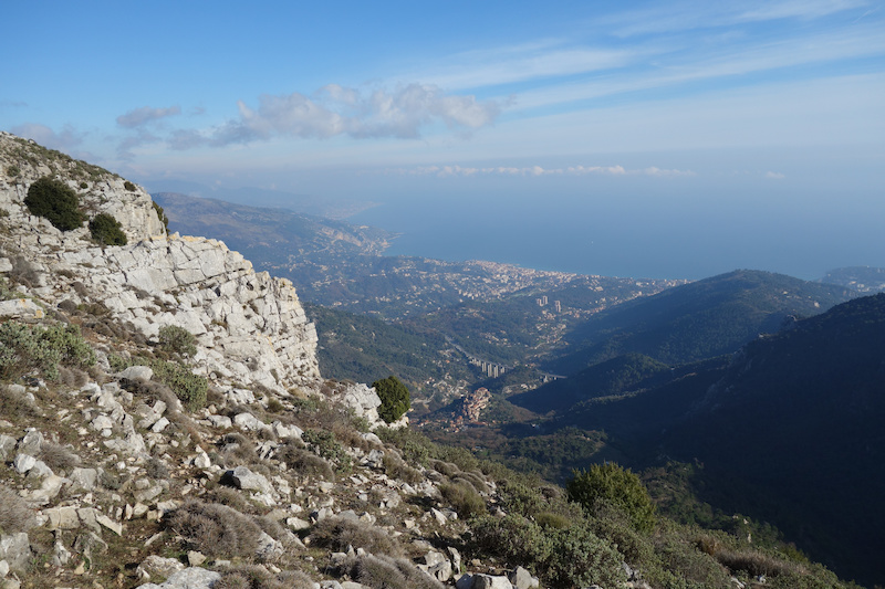 This spot was possibly the best view of the whole route the sea fret had lifted and we could see all the way down to Menton and along the coast to Italy