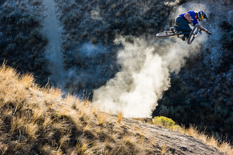 Kelly McGarry airs his mountain bike in Kamloops BC Photo Dan Barham