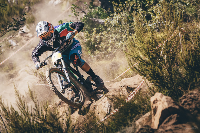 Stefan Garlicki navigates the rock garden on his way to take the win during the first round of the 2016 South African National Downhill series held at Helderberg Trails just outside Somerset West Cape Town. 28 February 2016