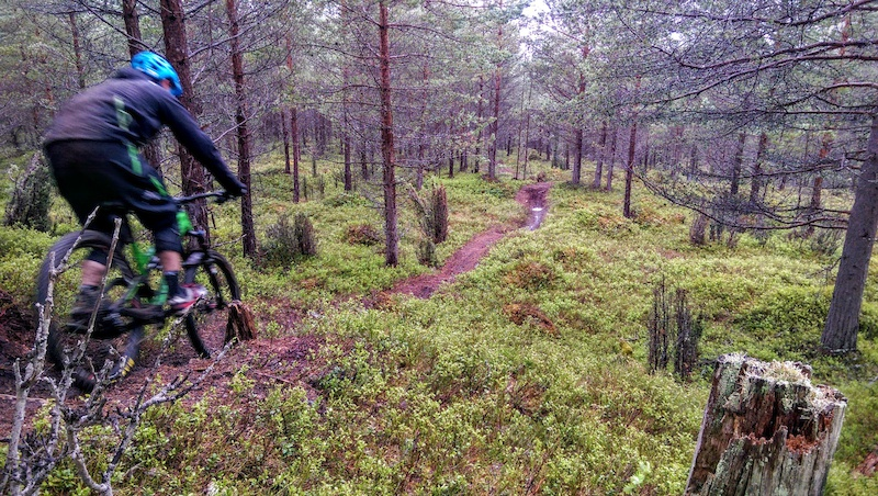We felt like we were in Canada it felt like we were riding the lush loamy trails trails that you so often see in videos of riders from British Columbia but we weren t we were in Norway only a few hours from home. Fresh looking trails like this one continued all the way back down to the town