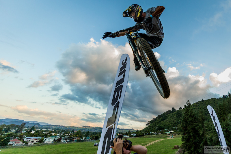 Ryan Howard s amplitude and unbelievably sideways whip was just enough to secure him a second win in the Official Oceania Whip-Off Championships presented by SPANK. He is currenlty undefeated in the Crankworx Rotorua event. Photo by Clint Trahan Crankworx