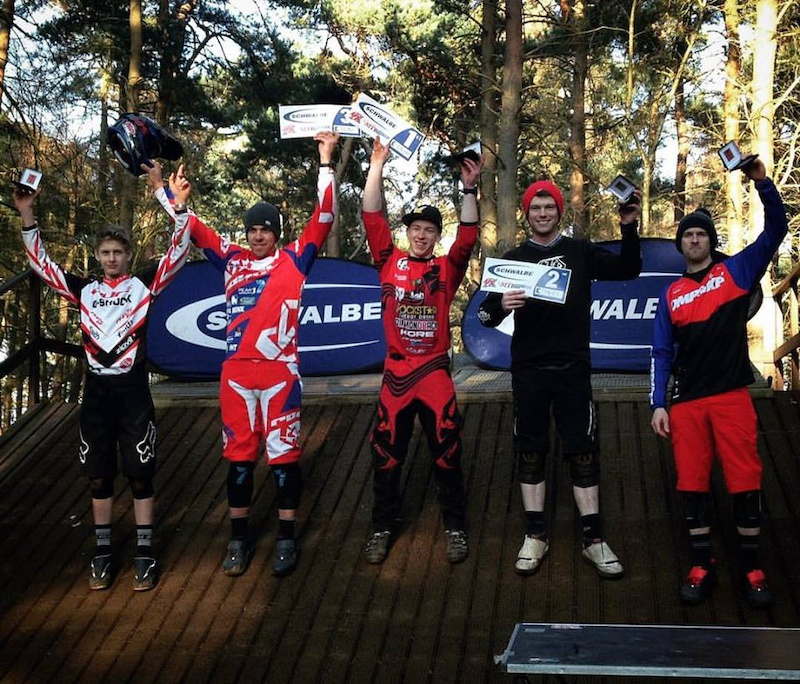 Elite men podium from round 1 of the Schwalbe British 4X Series. Team rider Connor Hudson with the win