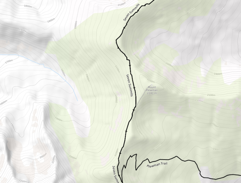 Contours with elevation and terrain shading