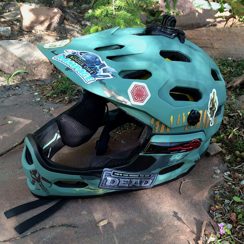Bikes -and- Star Wars Day? Check out my custom stickers on the new lid.