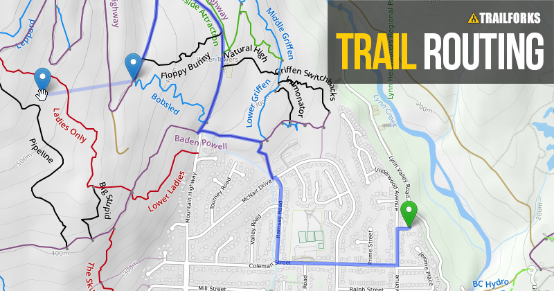 trailforks trail routing along roads