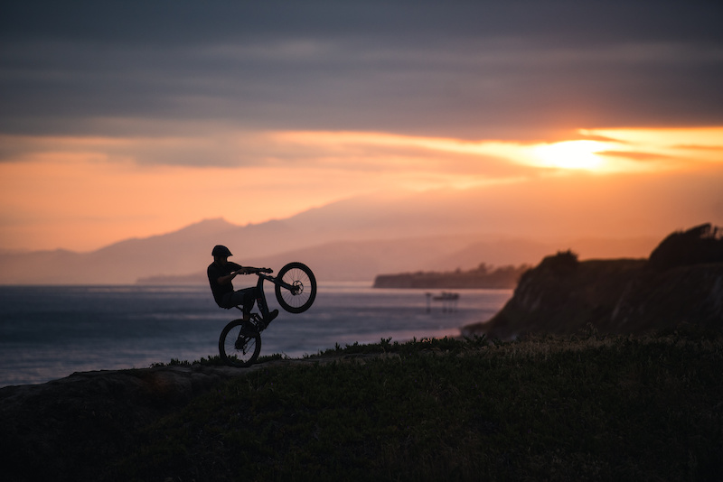 Nelson s wheelie skills on fine display in front of a particularly spectacular sunset on the Santa Barbara coastline.