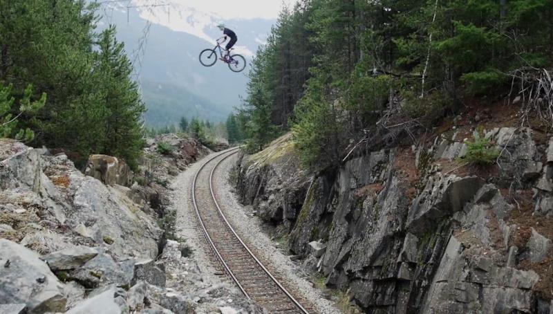 train gap on the trail bike - filming with Wildland Media