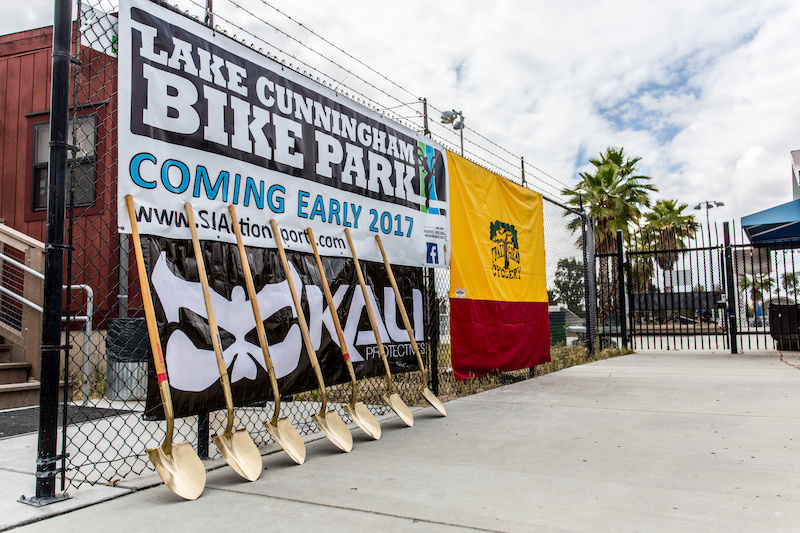 The Golden Shovels were lined up of the ground breaking ceremony of the Lake Cunningham Bike Park coming in early 2017.