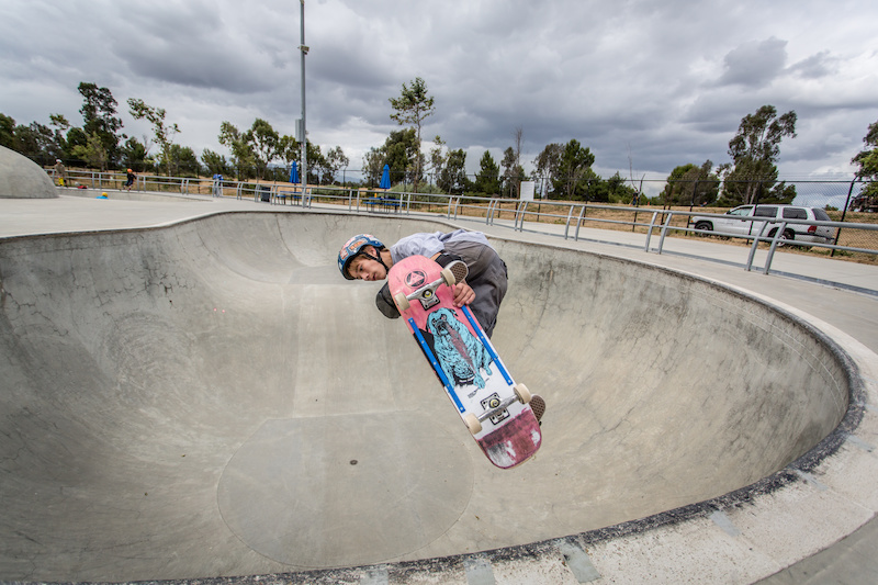 Alex Minton from San Jose is a 15 shredder on a board. He sends it out of his favorite feature the Skull Bowl.