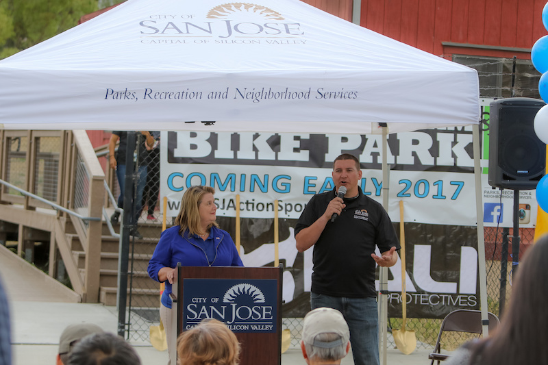 Justin Beck Action Sports Specialist with the City of San Jose Parks and Recreation introduces Vice Mayor Rose Herrera. The Vice Mayor was enthusiastic about breaking ground on the project. The East Side needs this. I can see at risk youth being drawn in to programs here at the bike park Vice Mayor Herrera exclaimed.