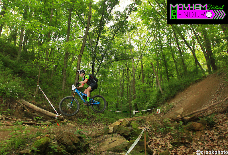 A rider on the second stage of the five-section Mayhem Enduro on the Wilds Mountain Bike Trails in Cumberland Ohio on May 29 2016.