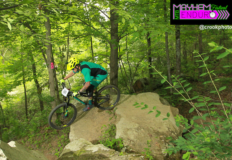A rider on the third stage of the five-section Mayhem Enduro on the Wilds Mountain Bike Trails in Cumberland Ohio on May 29 2016.