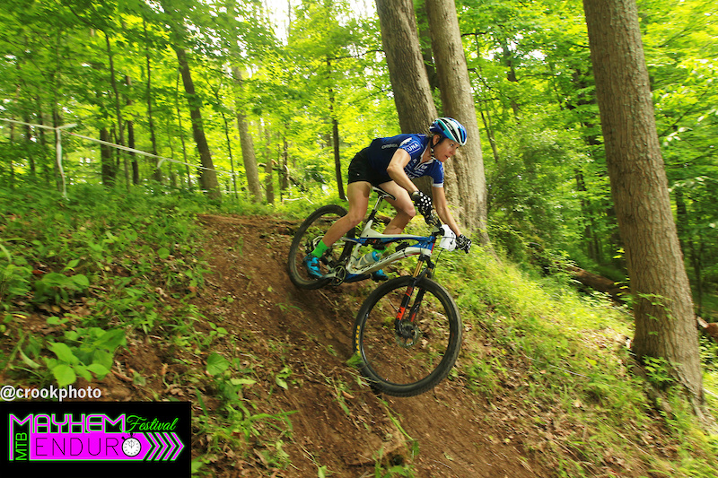 Two-time single speed world champion Marla Streb dives down a bank during the 2016 Mayhem Enduro in Cumberland Ohio on Sunday May 29.