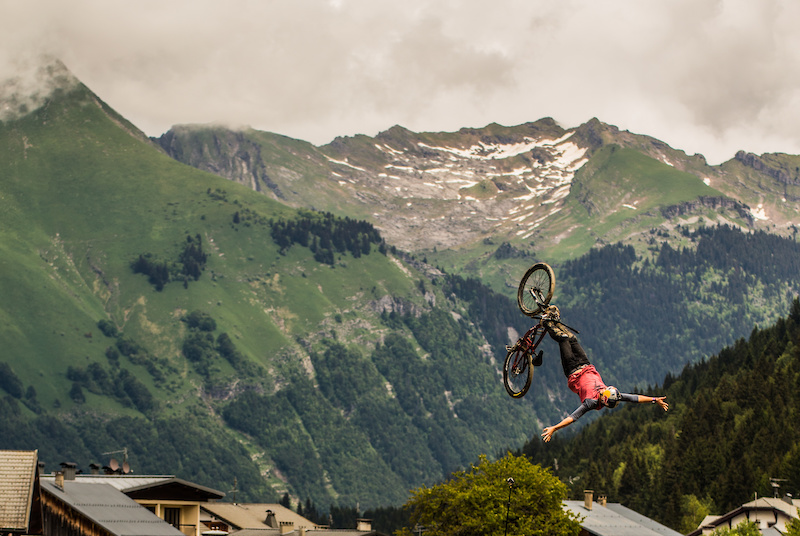 Szymon Godziek cliffhanger backflip. Crankworx Les Gets Best Trick. Photo by Sean St. Denis