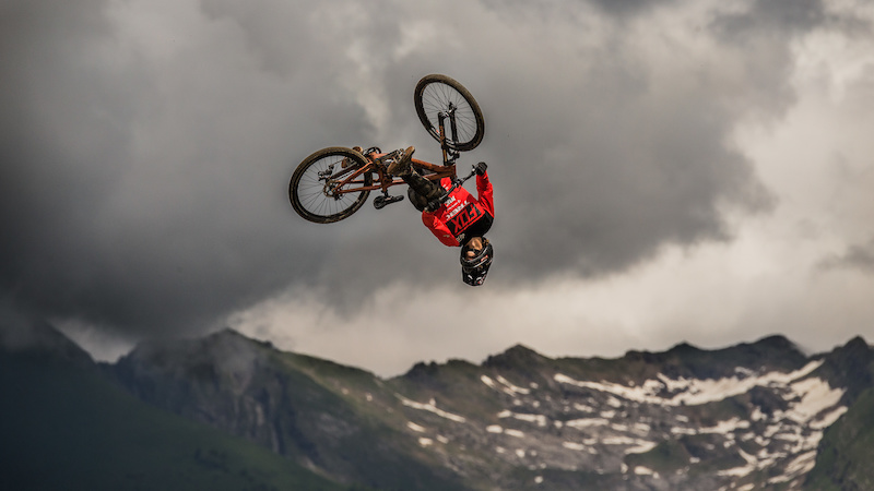Brett Rheeder Crankworx Les Gets Best Trick. Photo by Sean St. Denis