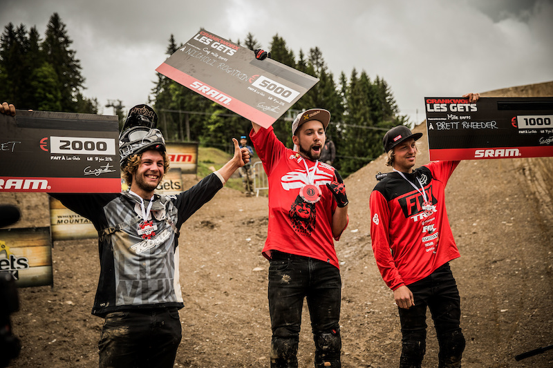 Antoine Bizet FRA - 2nd Nicholi Rogatkin USA - 1st and Brett Rheeder CAN - Crankworx Les Gets Best Trick podium. Photo by Sean St. Denis