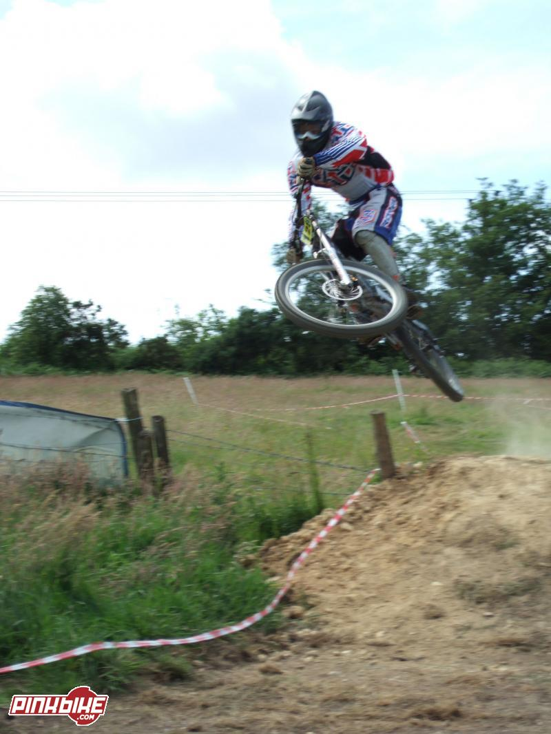 me doing the first gap/step down at Bull Track 17th JUne race