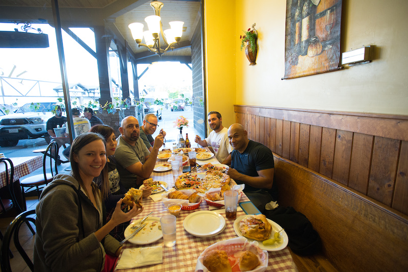 After a long day of practice Friday dinner at the best italian place in town Maggio s was a must We spotted several industry riders and reps including Roger from Kenda and the guys from KMC chains. Good food and good people.