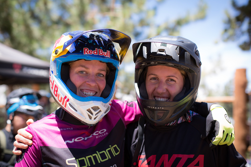 Jill Kitner and Kathy Pruitt hanging out in line for practice on Friday. Both ladies made a pretty substantial drive down to the Loose conditions of Snow Summit. Jill Pointed out she hadn t been at Summit for an event since the NORBA Four Cross races back in the day.