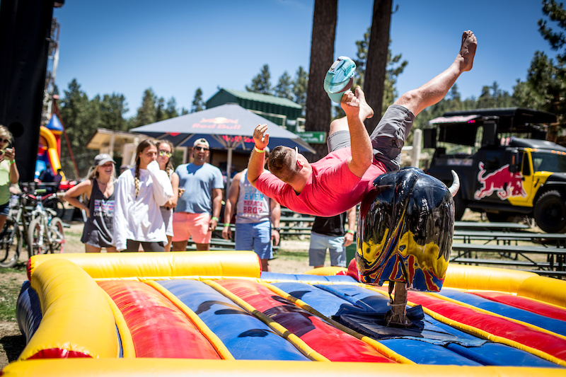 Tyler from Hermosa Beach CA loves the beer and the activities Crafts and Cranks provides. Here he gets bucked off with his friends watching in the background.