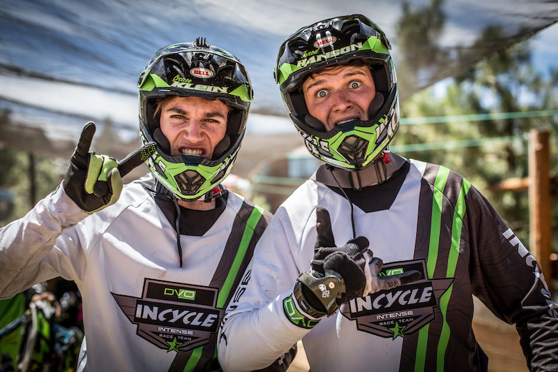 Bruce Klein left and Jarod Hanson right from the DVO Incycle Intense team pose while in line for their race runs Saturday. Bruce would finish in 4th place in the Pro Men category while Hanson wold finish 10th in a stacked field of 19 total.