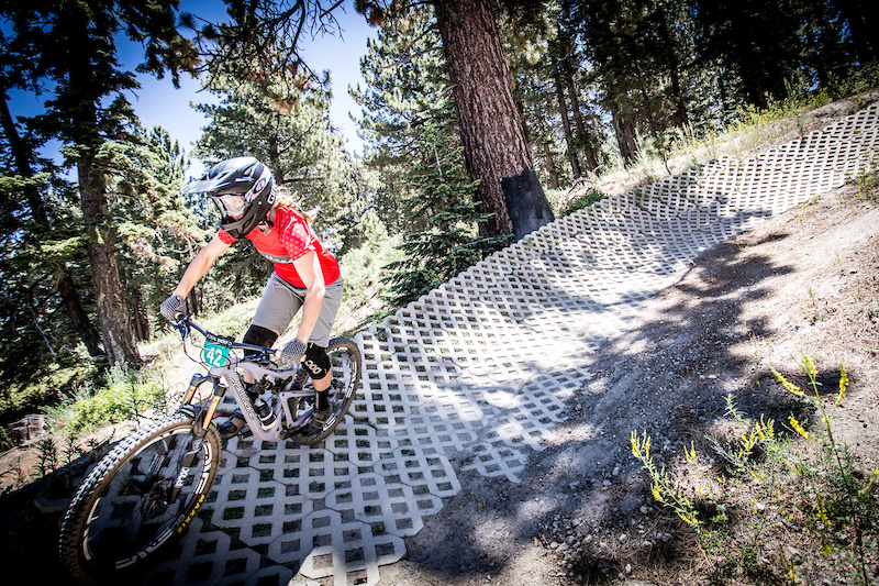 Kathy Pruitt in the first paver berm on Miracle Mile. She was looking to better her performance in her Enduro stages vs her previous DH result the day prior.