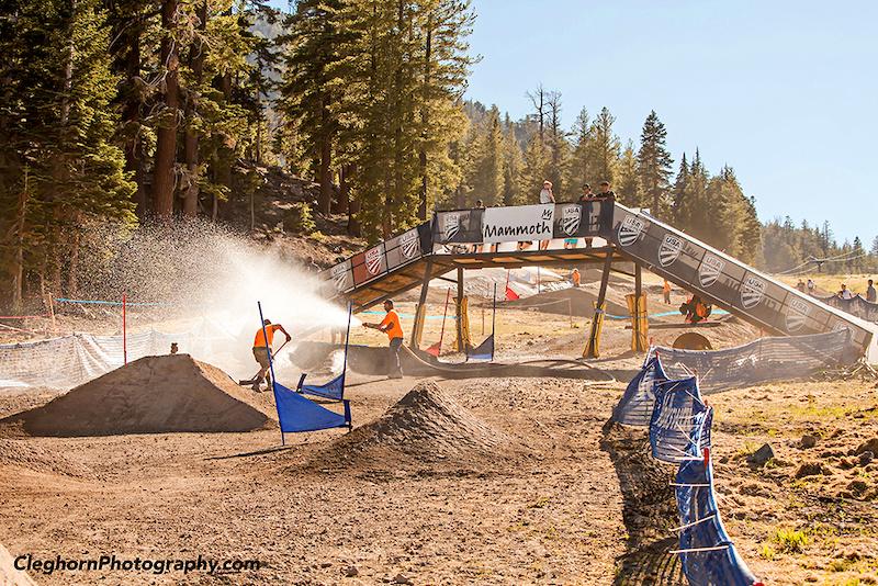 The Dual Slalom course gets prepped.