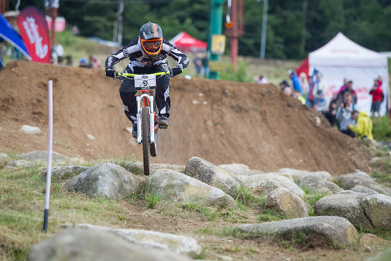 Open practice and qualifying for Round 3 of the 4X Pro Tour at JBC Bike Park Jablonec Czech Republic on July 15 2016. Photo Charles A Robertson