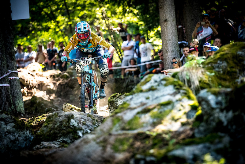 Caro slaying the rock garden near the finish of Stage 6. Pic Sven Martin