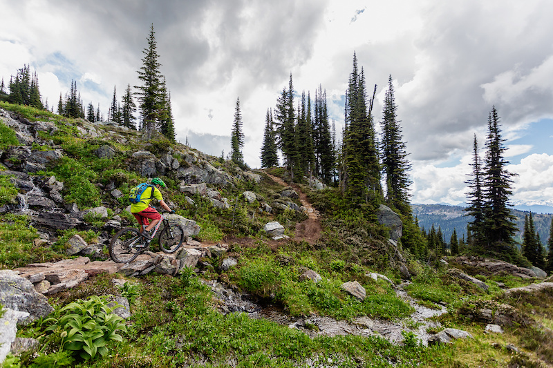 Using rock to build a sustainable trail over a wet spot on the South Caribou Pass trail.
