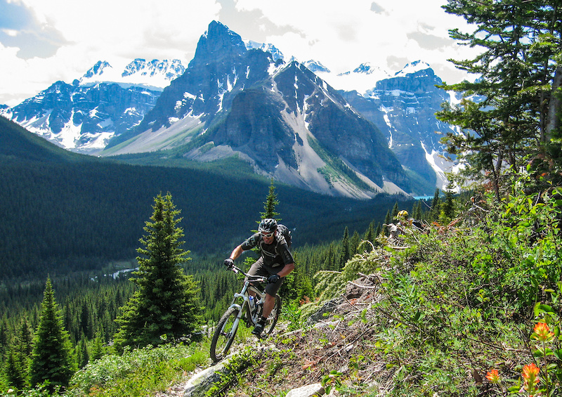Blue in his element singletrack and spectacular scenery on the Highline above Moraine Lake Alberta.