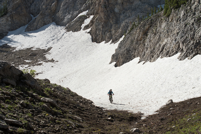 Weston making his way through the first snow field. His mind was blown that you could ride on snow.