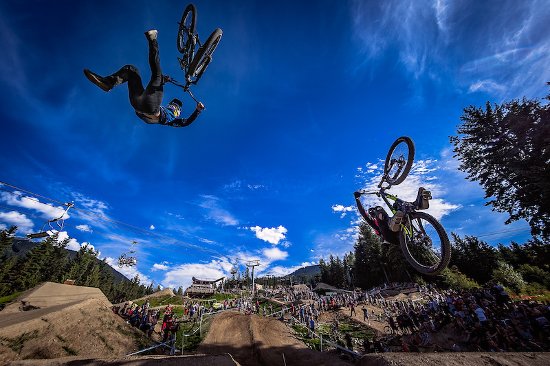 Carson Storch left vs Tyler McCaul right during the CLIF Bar Dual Speed amp Style at Crankworx Whistler. Photo by Clint Trahan.
