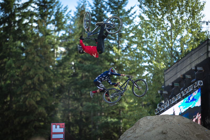 Tom Van Steenbergen red vs Cam Zink Stars during the CLIF Bar Dual Speed amp Style at Crankworx Whistler. Photo by Clint Trahan.