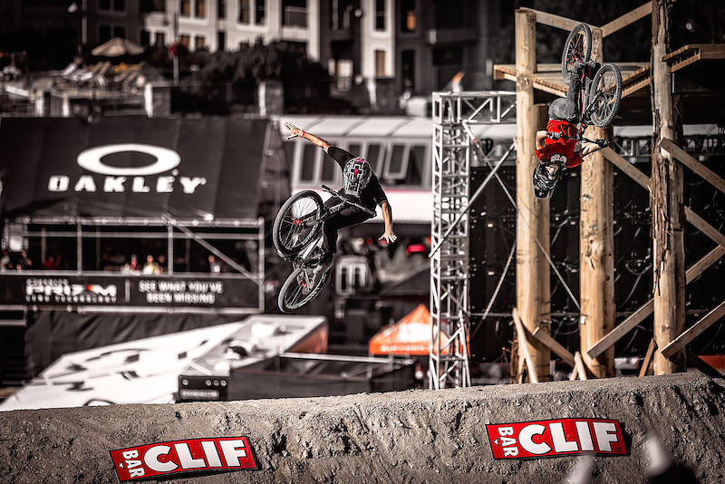 Tomas Lemoine Left vs Mitch Chubey Right during the CLIF Bar Dual Speed amp Style at Crankworx Whistler. Photo by Clint Trahan.