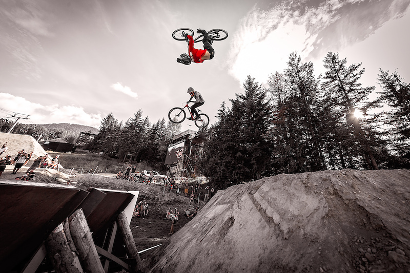 Tom Van Steenbergen red vs Brendan Howey during the CLIF Bar Dual Speed amp Style at Crankworx Whistler. Photo by Clint Trahan.