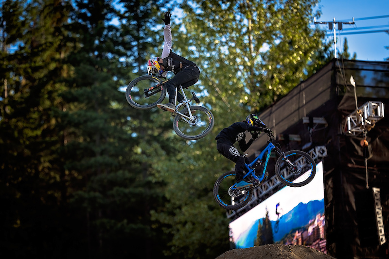 Thomas Genon Left vs Mitch Ropelato Right during the CLIF Bar Dual Speed amp Style at Crankworx Whistler. Photo by Clint Trahan.