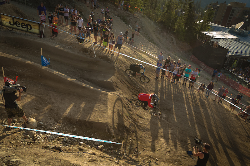 Tom Van Steenbergen Red vs Jakub Vencl Black during the CLIF Bar Dual Speed amp Style at Crankworx Whistler. Photo by Clint Trahan.