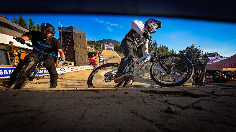 Thomas Genon right vs Jakub Vencl left during the CLIF Bar Dual Speed amp Style at Crankworx Whistler. Photo by Clint Trahan.