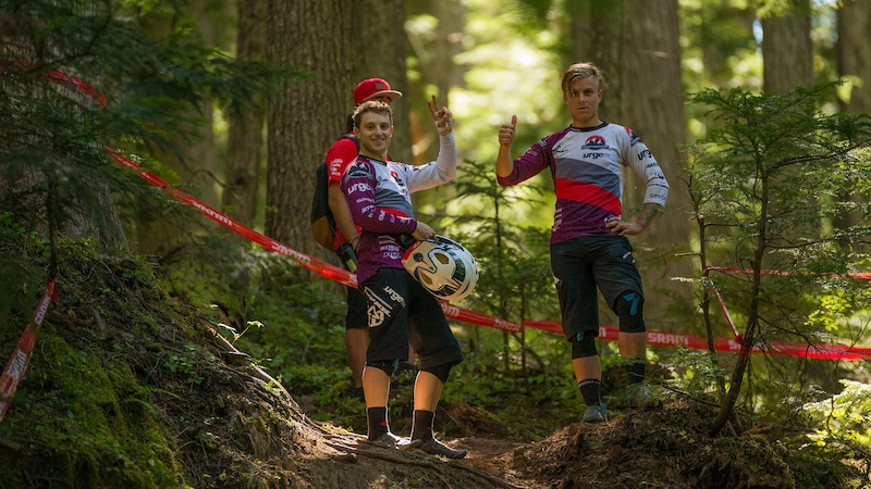 Jese Melamed and Remi Gauvin SRAM Canadian Open Enduro presented by Specialized Crankworx Whistler 2016. Photo Sean StDenis