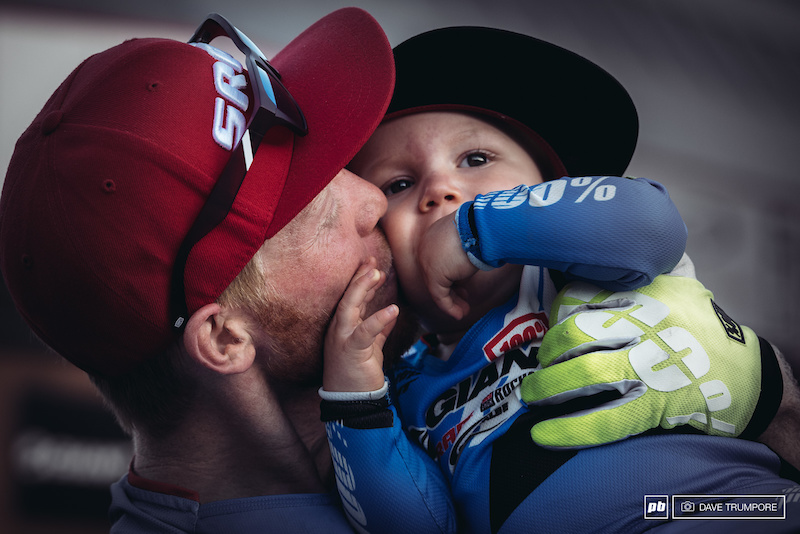 Family first for Josh Carlson as he celebrated his first ever EWS podium.